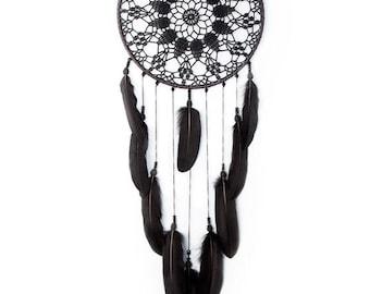 Large Black Dream Catcher, Crochet Doily Dreamcatcher, boho dreamcatchers, sweet dreams, wall hanging, wall decor, handmade