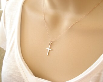 Tiny Rose gold filled Cross Necklace...cross charm 2d7f0afa6