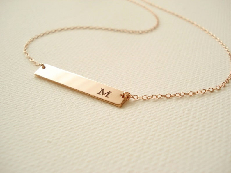 Rose Gold filled Personalized Bar Necklace...engraved name plate gold bar jewelry monogram Sorority gift bridesmaid gift 14 kt