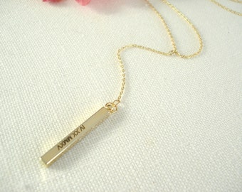 """Personalized """"Y"""" Vertical Gold bar necklace...Engraved 3D Bar, sorority, best friend gift, wedding, bridesmaid gift"""