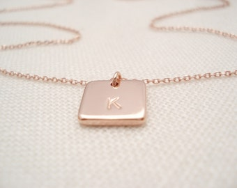 Initial Necklace...Rose Gold personalized jewelry, square disc, bridesmaid gift, flower girl, simple everyday, bridal jewelry