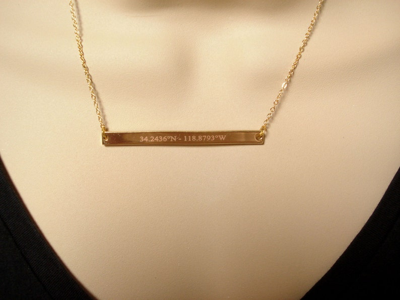 wedding Personalized Gold bar necklace...Engraved Bar bridesmaid gift best friend gift sorority