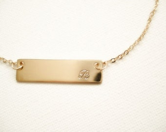 Initial Monogram Gold Bar Necklace simple , best friend, birthday, bridesmaid, wedding gift