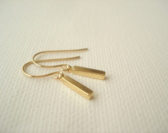 Tiny bar earrings with 14 kt. Gold-filled french ear wire, Simple gold bar earrings, dangle, drop earrings, bridesmaid gift, Gift for her