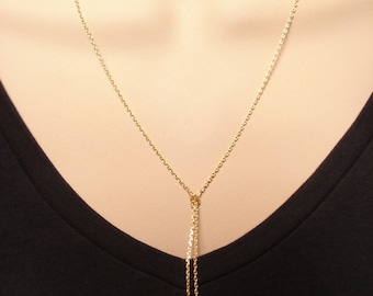 Choice of Gold choker or Lariat necklace...Simple delicate, layered necklace, sorority, best friend, wedding, bridesmaid gift