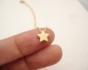 Gold star necklace...Simple delicate, short and layered, sorority, best friend, wedding, bridesmaid gift