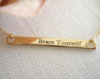 Personalized Gold bar necklace...Engraved name plate Bar, sorority, best friend gift, wedding, bridesmaid gift