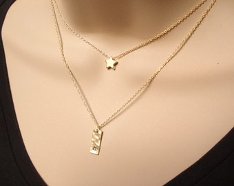 Choice of Gold star or Initial Bar necklace...Simple delicate, layered necklace, sorority, best friend, wedding, bridesmaid gift