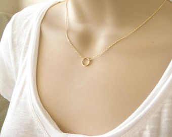 Adjustable Karma Infinity choker, gold or silver, Simple delicate circle, short and layered, sorority, best friend, wedding, bridesmaid gift