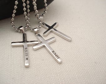 Men's Sterling silver Personalized Cross Necklace...Custom engraved cross charm, groomsmen gift, bible verse, religious, faith gift