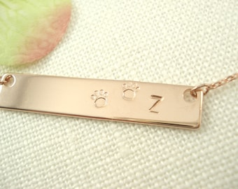 Hand Stamped Rose Gold Bar Necklace...Personalized Name plate bar with paw jewelry, Sorority gift, monogram, bridesmaid gift