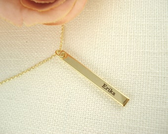 Personalized Vertical Gold bar necklace...Engraved name plate Bar, sorority, best friend gift, wedding, bridesmaid gift