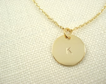 Initial Necklace...Gold personalized jewelry for bridesmaid gift, flower girl, simple everyday, bridal jewelry