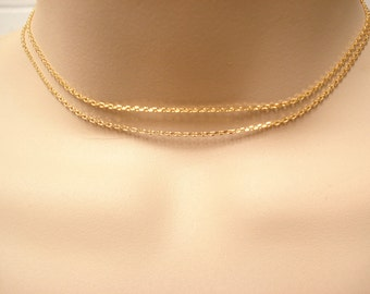 Gold Choker...Adjustable double chain choker, Simple delicate, short and layered, sorority, best friend gift, wedding, bridesmaid gift