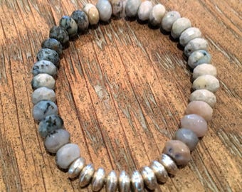 Jasper stone bracelet with silver bead accent
