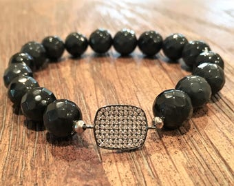 Onyx beads with a crystal accent
