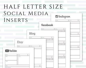 HALF LETTER Social Media Planner