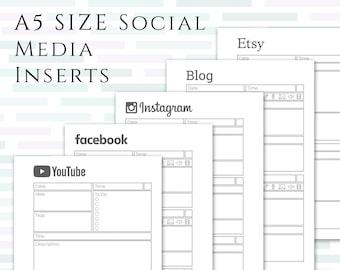 A5 Social Media Planner Inserts