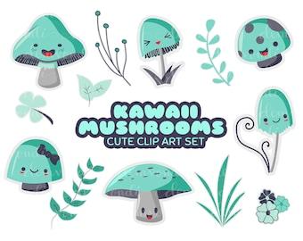 Kawaii Mushrooms -  Cute Clip Art Set   Digital Stickers   PNG and JPG Printable Files
