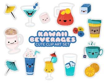 Kawaii Beverages -  Cute Clip Art Set   Digital Stickers   PNG and JPG Printable Files