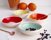 Ceramic rainbow salt and pepper dishes, pottery salt and pepper dishes, ceramic condiment dish, pottery condiment dish, ceramic tableware