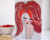 Girl red hair birthday card, fashion illustration card, fashionista card, girlfriend card, fashion girl birthday card,unique card her,beauty