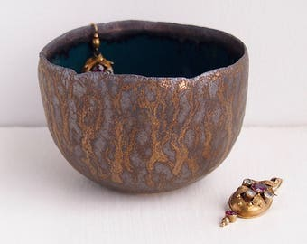 handmade teal and gold  ceramic ring bowls, gold pottery bowl, gold jewellery holder, ring holder display, teal gold ring dish, pottery bowl