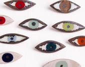 Ceramic eye pin badge brooch many colours, jewel colours eye jewellery, multicolour eye pin brooch, statement eye jewellery, eye pin badge