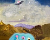 Flying saucer & girls in floating pool painting, space ship ufo flying saucer giclee print, altered vintage art, thrift store painting