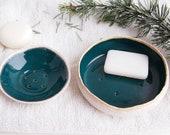 Handmade teal ceramic soap dish, soap dish, teal soap holder, bathroom accessory, pottery soap dish, teal ceramic soap dish, green soap dish