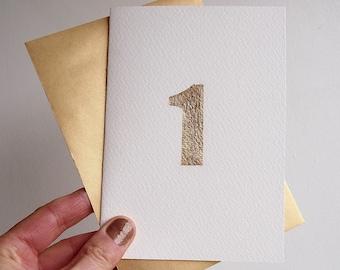 Handmade gold leaf 1st birthday card, 1st anniversary gold leaf card, handmade gold leaf number one card, 1st birthday card, 1 anniversary