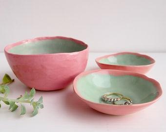 Handmade turquoise and pastel pink ceramic ring dish, pottery jewellery dish , ceramic jewel dish, turquoise pink pottery ring display dish