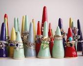 Ceramic glossy rainbow ring cones, multicolour rainbow ring cones, ring holder, jewellery storage, ring display, jewellery display,ring tree