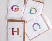 Handmade alphabet letter watercolour  birthday card, initial birthday card, Hand painted  birthday card, letter card, monogrammed card