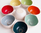 Round colourful ceramic ring bowls, ring dish, ceramic bowl, pottery dish, jewellery storage, unique gift, ceramic salt dish, pottery bowl