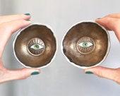 Handmade mini gold with coloured eye ceramic ring dish, handmade mini pottery eye ring dish, gold eye ceramic ring holder, gold mini dish