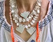Ceramic handmade turquoise blue cloud necklace, cloud ceramic necklace, statement necklace, ceramic jewellery, pendant cloud necklace,