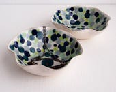 Handmade blue/green polka dot ceramic bowl, ceramic ring dish, decorative ceramic bowl, pottery bowl, ceramic catchall, ceramic ring dish