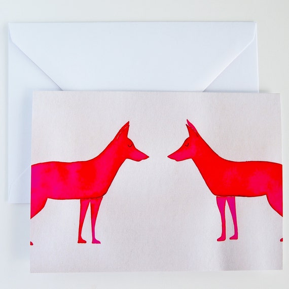 Carte D Anniversaire Renard Rose Carte D Anniversaire Fox Carte
