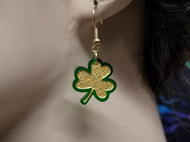 Plain or Gold Painted with 6 Earring Choices Glitter Filled 3 Colors 3 VariationsStyles Engraved Clover Shaped Acrylic Earrings