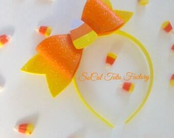 Big Sparkly Candy Corn Bow Headband