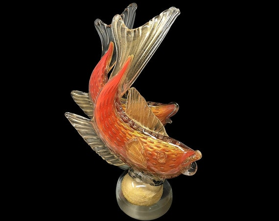 MONUMENTAL C.1960s Alfredo BARBINI MURANO Orange Sommerso | Cased Bullicante Glass Fish Sculpture Set