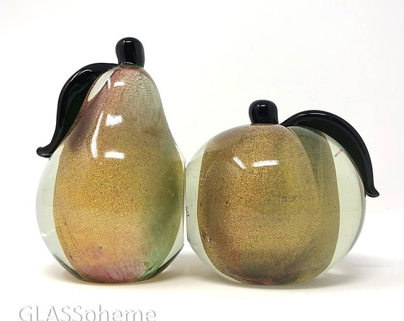 Published Archimede SEGUSO MURANO Gold Sommerso Polveri Glass Apple Pear Bookends | Paperweights