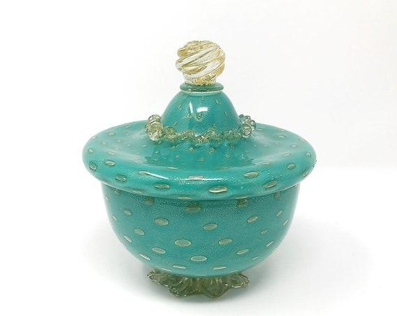 Stunning C.1950s MURANO Bullicante w/Gold Aventurine Cased Glass Jar | Covered Bowl | Powder