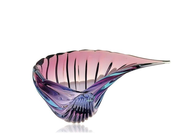 MONUMENTAL Alfredo BARBINI Murano ALEXANDRITE Conch Shell Glass Centerpiece | Bowl