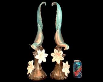 """C.1950s Murano 22"""" Alfredo BARBINI Bird of Paradise Sculpture   Statue   Figurine - RARE PAIR!"""