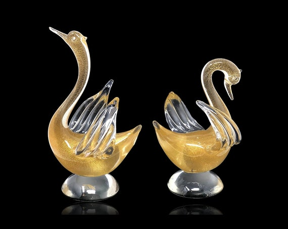 EXQUISITE C.1960s Archimede SEGUSO Murano Glass Swan | Bird Sculptures--Signed and MINT