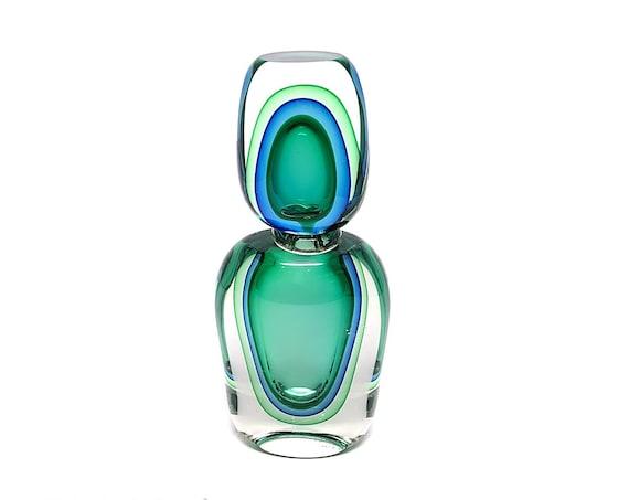 Luigi Onesto OBALL MURANO SOMMERSO | Submerged Glass Perfume Bottle - Signed
