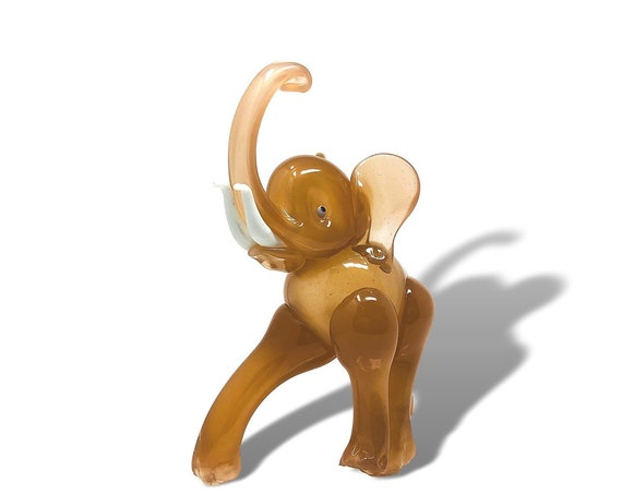Documented XL Rare C.1950s FRATELLI TOSO Murano Blown Opalescent Glass Elephant