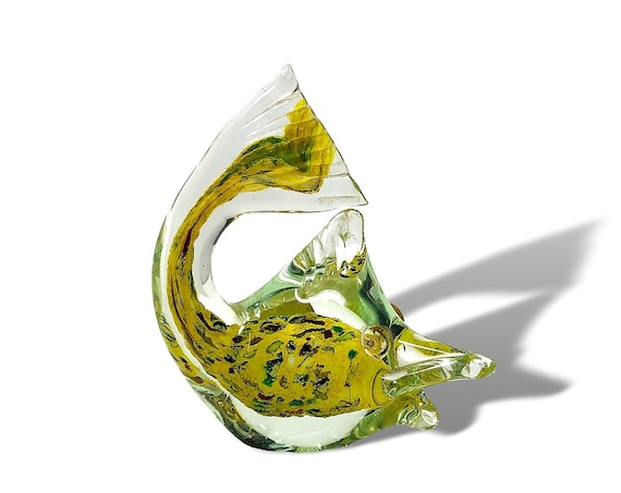 C.1950s J.I. Co. MURANO Murrines Sommerso Glass Fish Figurine | Sculpture